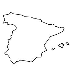 Black contour map of Spain vector image