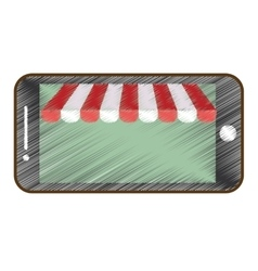 drawing smartphone shopping online store vector image
