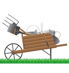 garden wheelbarrow with tool vector image