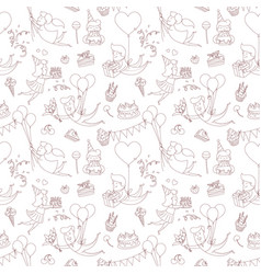 happy birthday party greeting seamless pattern vector image vector image