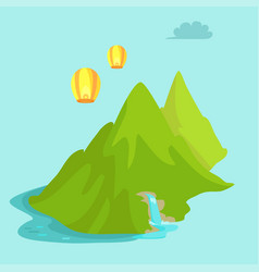 maokong mountain in taiwan and chinese lights fly vector image vector image