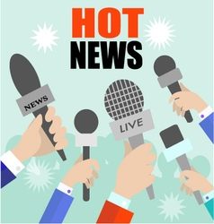 Reporters with microphones vector image vector image
