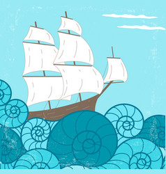 vitage poster with ship and waves vector image