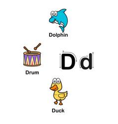 alphabet letter d-dolphin drum duck vector image