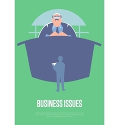Business issues banner with big boss vector