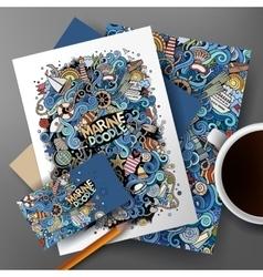 Corporate Identity marine doodle set vector image