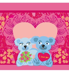 Cute Teddy bears couple vector image