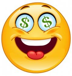 dollar emoticon vector image vector image