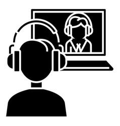 interview online - online study - school icon vector image vector image