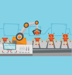 robotic production line for assembly of toys vector image