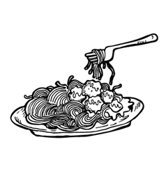 spaghetti doodle vector image vector image