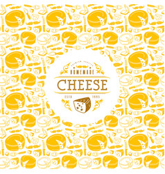 cheese label and frame with pattern vector image