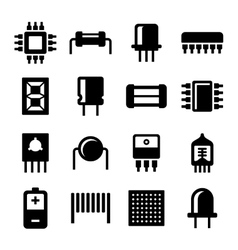 Electronic Components and Microchip Icons Set vector image vector image
