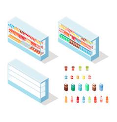 milky food in groceries showcase isometric vector image