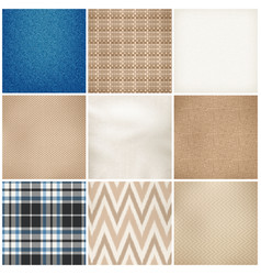 realistic textile patterns texture set vector image