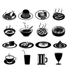 Restaurant foods icons set vector image vector image