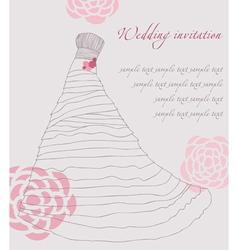 wedding dress invitation card vector image vector image