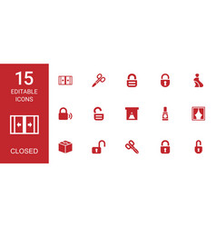 15 closed icons vector image