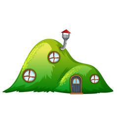 A hill house on white background vector