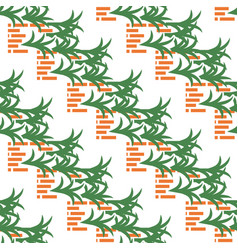 abstract pattern with bricks and leaves on white vector image