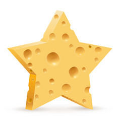 abstract star in form cheese on white background vector image