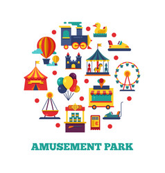 Amusement park icons round concept vector