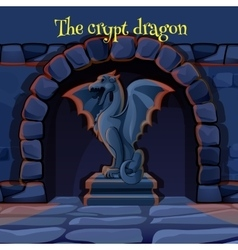 Ancient stone statue of a gargoyle in the dungeon vector
