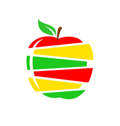 apple cutted into slices different colors apple vector image