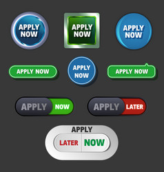 apply now buttons in different styles vector image