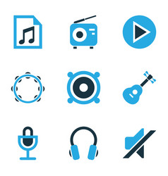 Audio colored icons set collection of headset vector