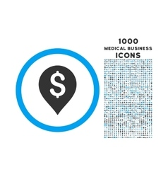 Banking Map Marker Rounded Symbol With 1000 Icons vector image