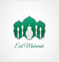 Beautiful green eid mubarak design with mosque vector