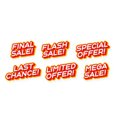 big mega sale special offer set red and yellow vector image