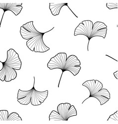 Black and white ginkgo leaves seamless pattern vector