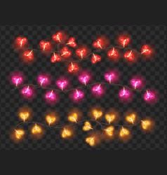bright neon heart shaped bulbs holiday garland vector image