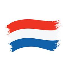 brushstroke painted flag netherlands vector image