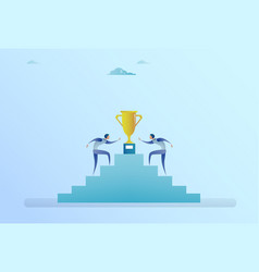 business people climbing stairs up to golden cup vector image
