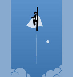 Businessman with cape flying up to the sky vector