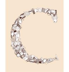 C school alphabet letter vector