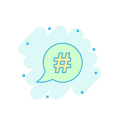 cartoon hashtag icon in comic style social media vector image