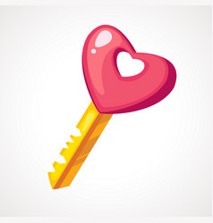 cartoon pink heart shaped key vector image