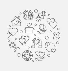 Charity circular concept outline vector