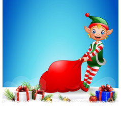 christmas background with elf pulling a bag full o vector image