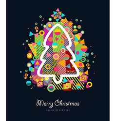 Christmas tree colorful retro greeting card vector