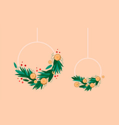 christmas wreath fir branches limns and red vector image