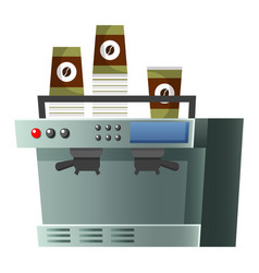 coffee machine with cups for coffeehouse vector image