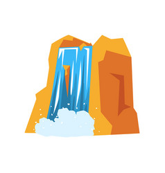 Colorful rocky mountain and beautiful waterfall vector