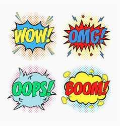 comic speech bubbles - wow omg oops boom vector image