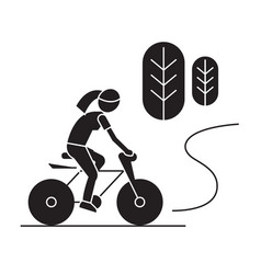 countryside bike ride black concept icon vector image