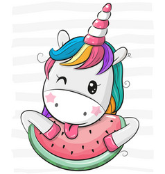Cute cartoon unicorn with watermelon vector